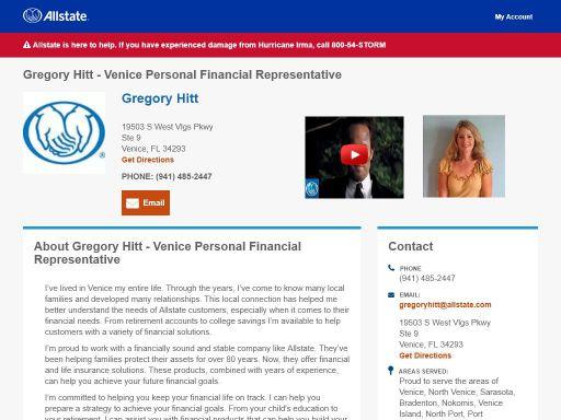 allstate personal financial representative gregory hitt
