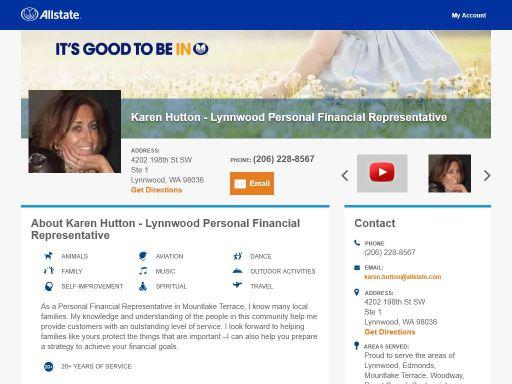allstate personal financial representative karen hutton