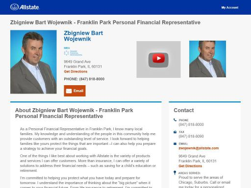 allstate personal financial representative zbigniew bart wojewnik